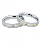 Alianças Compromisso de Aço Inox 4 mm Diamantada Com Filete Central de Ouro AX096-D