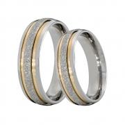 Alianças Compromisso de Aço Inox Diamantada 6 mm C/ Filetes de Ouro AX332-D