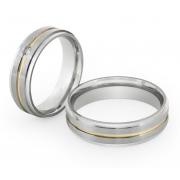 Alianças Compromisso de Aço Inox Reta 6 mm C/ Filete em Ouro e Bordas Polidas AX390