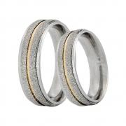 Alianças Compromisso de Aço Inox Reta 6 mm Diamantada C/ Filete de Ouro AX390-D