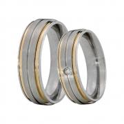 Alianças Compromisso de Aço Inox Reta 6 mm Fosca 2 Filetes de Ouro AX381-2