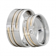 Alianças Compromisso de Aço Inox Reta 8 mm Filete Aspiral AX322