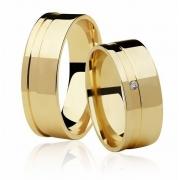 Alianças de Casamento Ouro 18k Frame Stone (7mm)