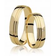 Alianças de Prata 950 Banhadas a Ouro 24k Noivado ou Casamento AB7034