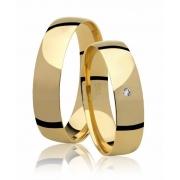 Alianças de Prata 950 Banhadas a Ouro 24k Noivado ou Casamento AB7035