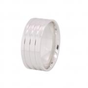 Alianças Namoro Anatômica de Prata 9 mm com 3 Filetes AP6024