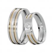 Alianças Namoro de Aço Inox Reta 6 mm Filetes em Ouro C/ Pedra de 3 mm AX300