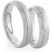 Alianças Namoro de Prata 5mm e Pedras