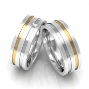 Alianças Namoro de Prata 950 com Fio de Ouro (7mm)