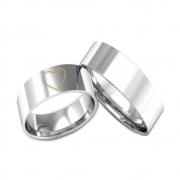 Alianças Namoro de Prata com Aplique de Ouro no Coração AP6077