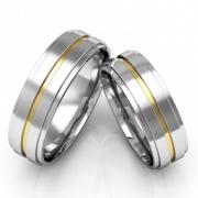 Alianças Namoro de Prata e Ouro Polida (6mm)