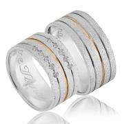 Alianças Compromisso de Prata e Ouro Quadrada (8,5mm)