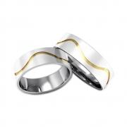 Alianças Namoro de Prata Onda e Aplique de Ouro AP6003