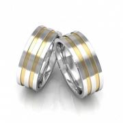 Alianças de Namoro Prata Quadrada Polida com Filetes de Ouro (7mm)