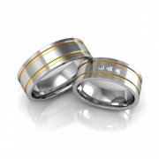 Alianças Namoro Prata Quadrada com 2 Filetes de Ouro e Pedras (6mm)