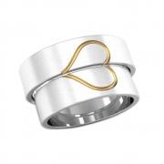 Alianças Namoro Prata Coração com Aplique de Ouro AP6072