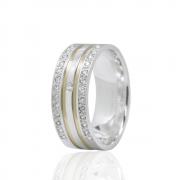 Alianças Namoro Prata Frisos de Ouro Cravejada de Pedras AP6036