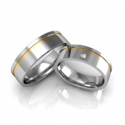 Alianças Namoro Prata Anatômica Quadrada com Filetes de Ouro e Pedra (6mm)