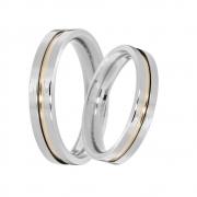 Alianças Compromisso de Prata Quadrada com Fio de Ouro (3mm)