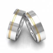 Alianças Namoro Prata Filete de Ouro Lateral Quadrada Polida (5mm)