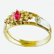 Anel de Formatura Ouro 18k Pedra Navette  AF503