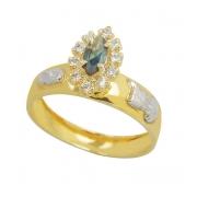 Anel de Ouro 18k Formatura Pedra Navette  AF421