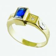 Anel de Ouro 18k Formatura Pedra Trapézio AF410