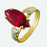 Anel Formatura de Ouro 18k Pedra Navete AF736