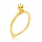 Solitário Cathedral Ouro Amarelo 18k e 16 Pontos de Diamantes