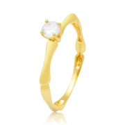 Solitário Ouro Amarelo 18k Antique e 30 Pontos de Diamantes