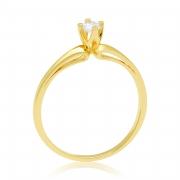 Solitário Ouro Amarelo 18k e 20 Pontos de Diamantes