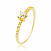 Solitário Ouro Amarelo 18k Flower e Diamantes