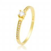 Solitário Ouro Amarelo 18k Gem e 19 Pontos de Diamantes