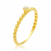 Solitário Ouro Amarelo 18k Sard e 2 Pontos de Diamantes