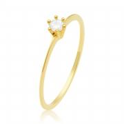 Solitário Ouro Amarelo 18k Slim e 11 Pontos de Diamantes