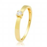 Solitário Ouro Amarelo 18k Trellis e 11 Pontos de Diamantes