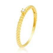 Solitário Ouro Amarelo 18k Twist com Pedra de Diamante