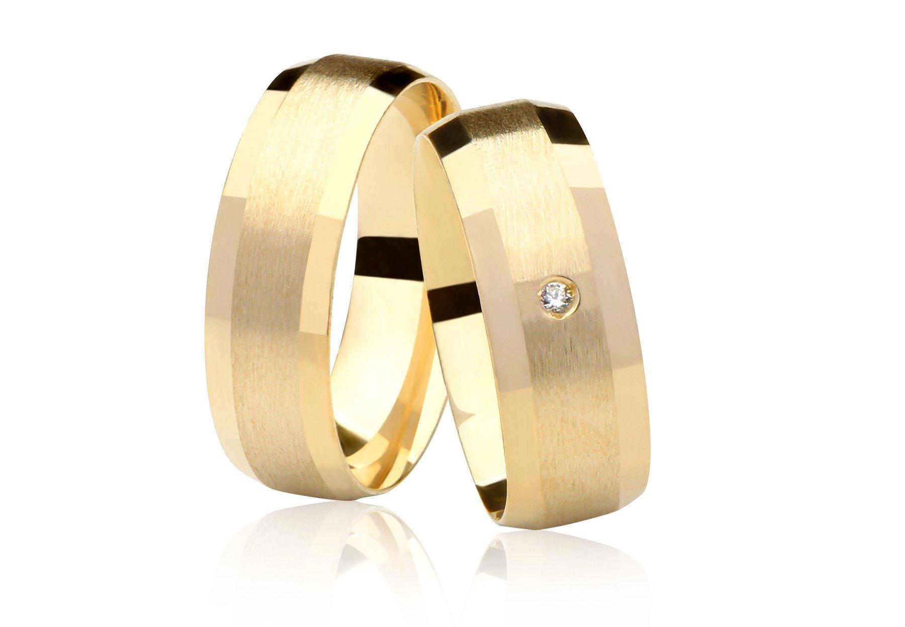Aliança Casamento Cosmos de Ouro 18K  e Diamante - Unitária (6.8mm)