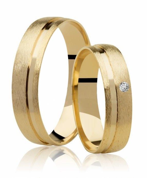 Aliança Casamento de Ouro 18k Fosco e Diamante (4.75mm)