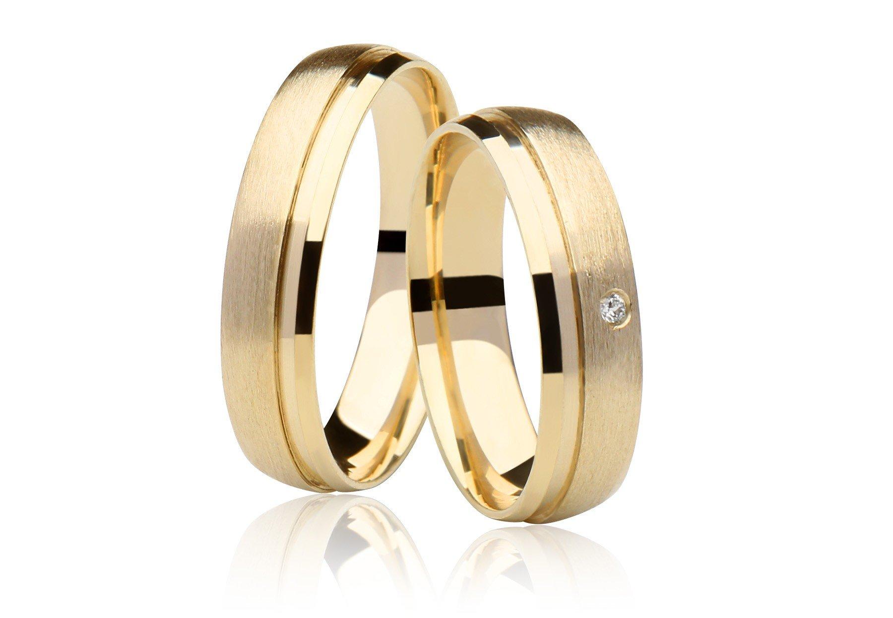 Aliança Casamento de Ouro 18k Fosco e Diamante - Unitária (4.75mm)