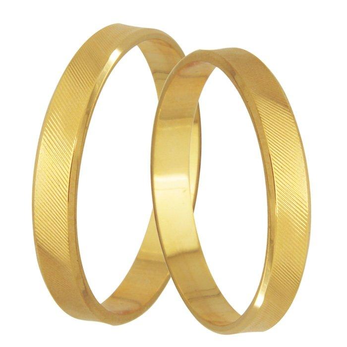 Aliança Casamento de Ouro Amarelo Grooves - Unitária (3.40mm)