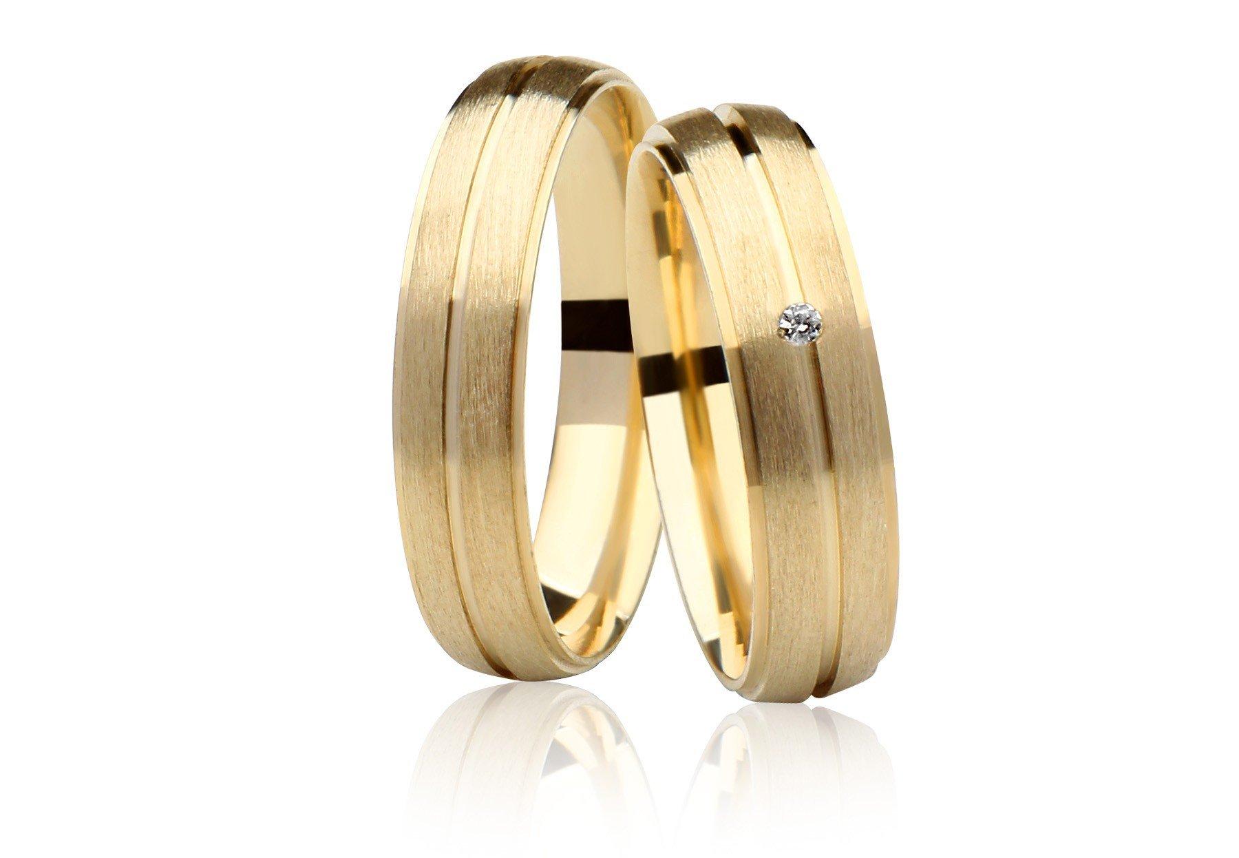 Aliança Casamento Destiny Ouro 18k Fosco e Diamante (4.75mm)