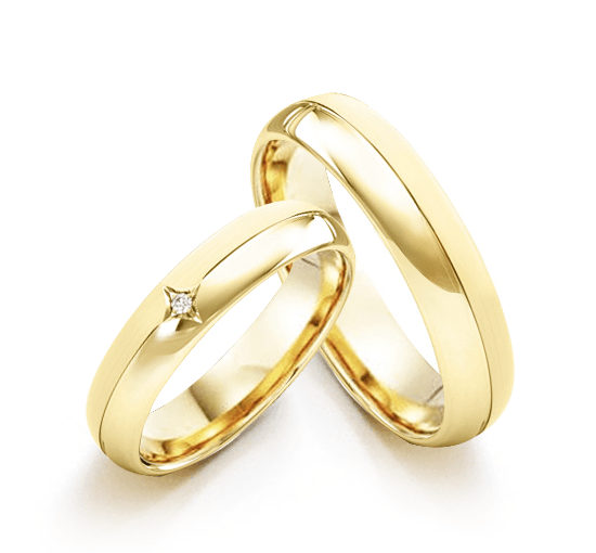 Aliança Casamento Estrela de Ouro 18k Duplo Acabamento (4.5mm)