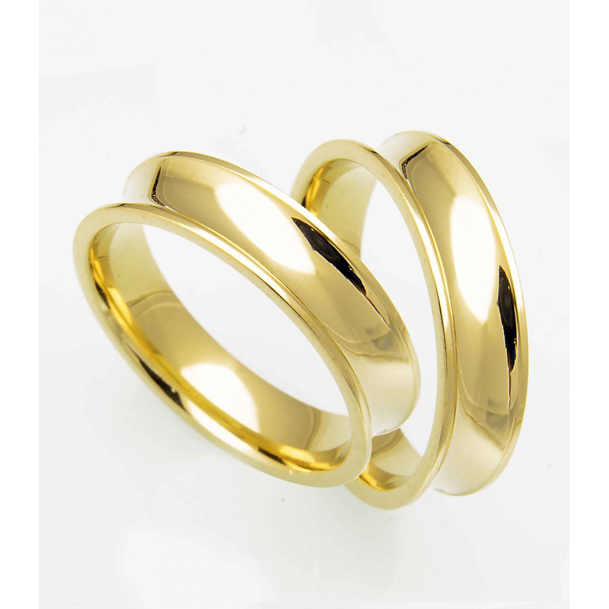 Aliança Côncava Anatômica de Casamento em Ouro 18k  (5mm)