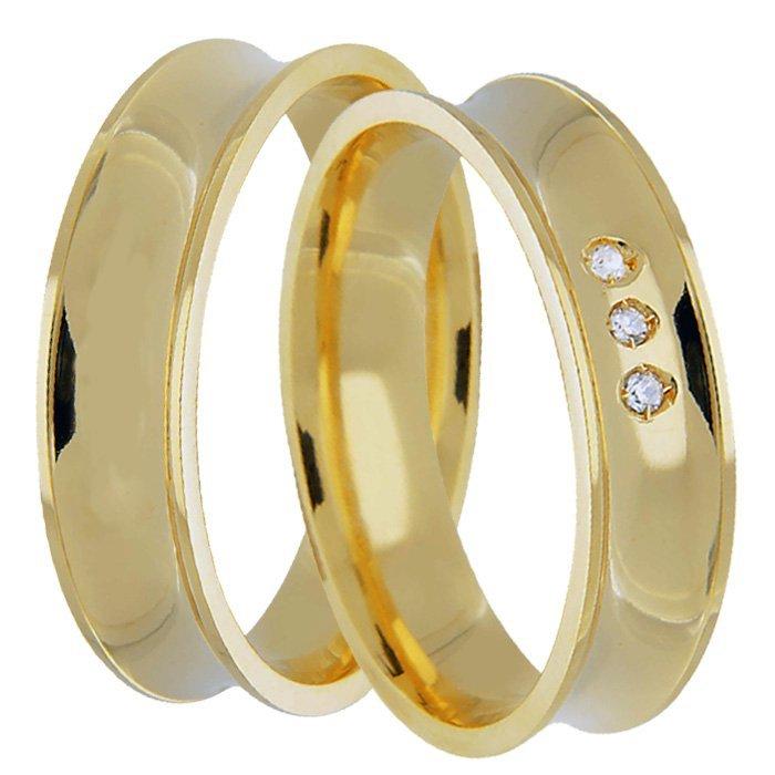 Aliança Côncava Anatômica de Casamento em Ouro 18k  - Unitária (5mm)