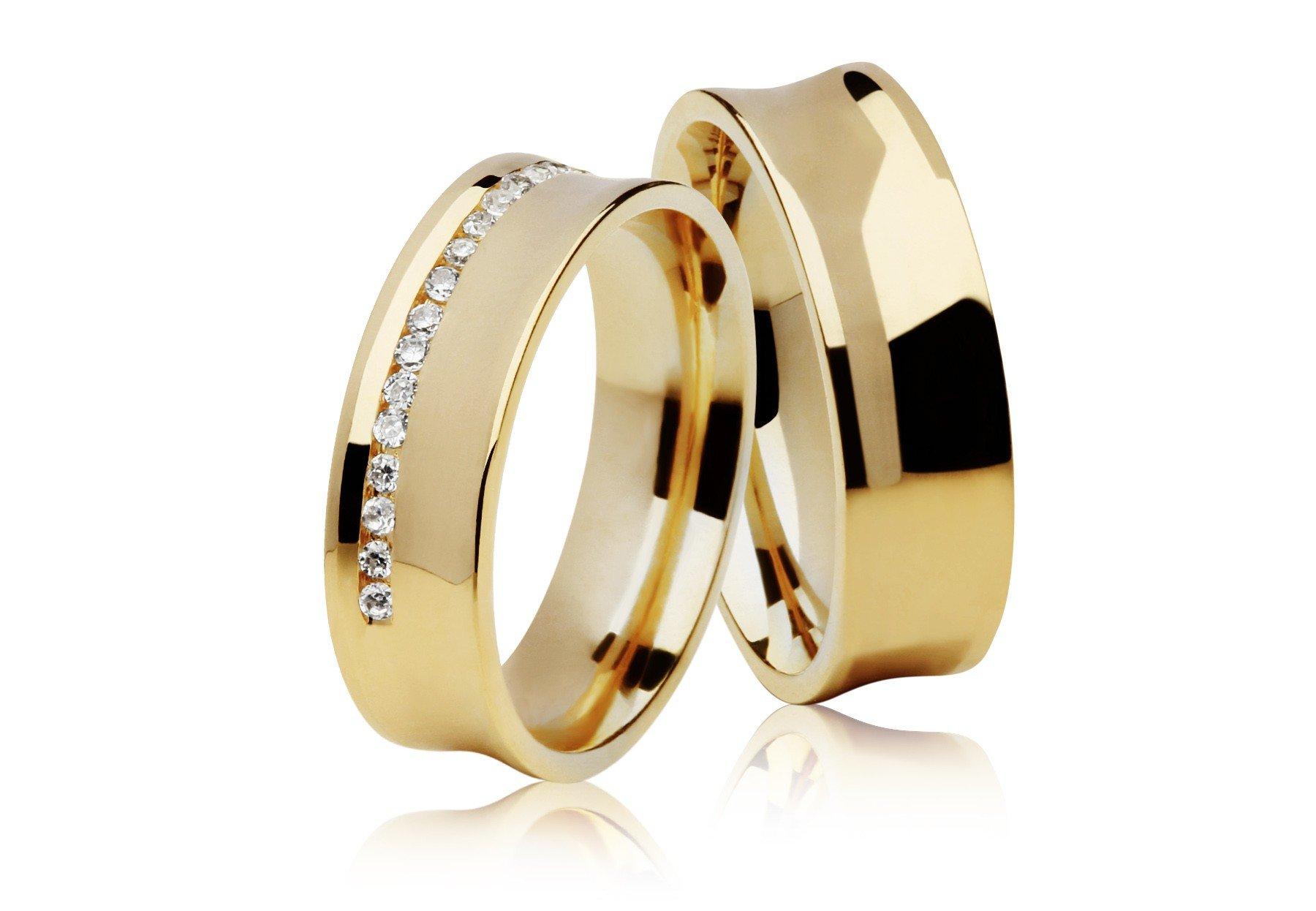 Aliança Côncava de Casamento Carrê Ouro Amarelo 18k (5mm)