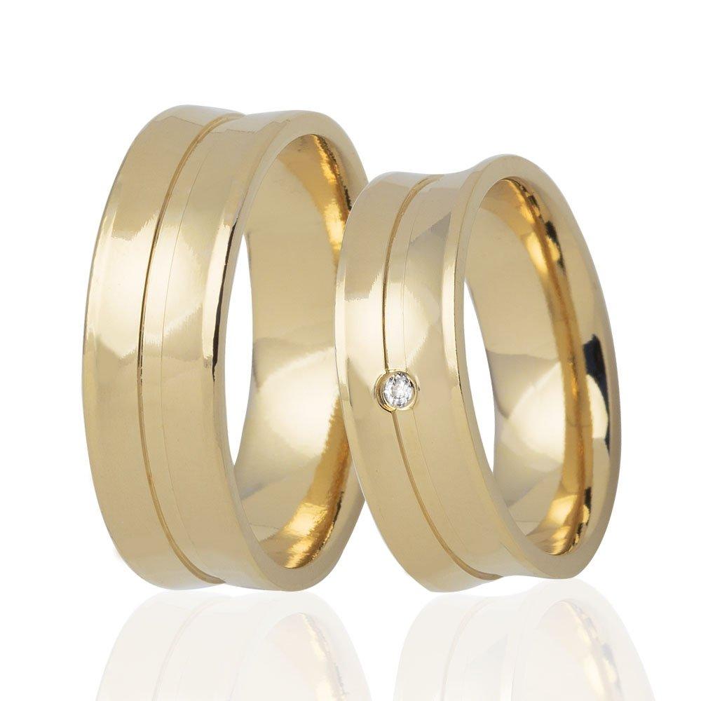 Aliança Côncava de Casamento em Ouro 18k e Diamante - Unitária (5.5mm)