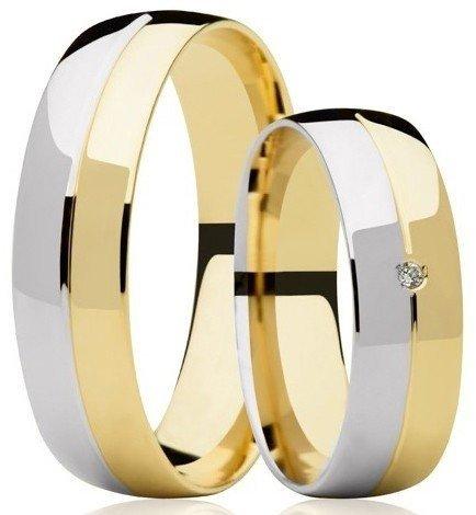 Aliança de Casamento Couple Ouro Amarelo e Branco 18k Anatômica - Unitária (5.8mm)