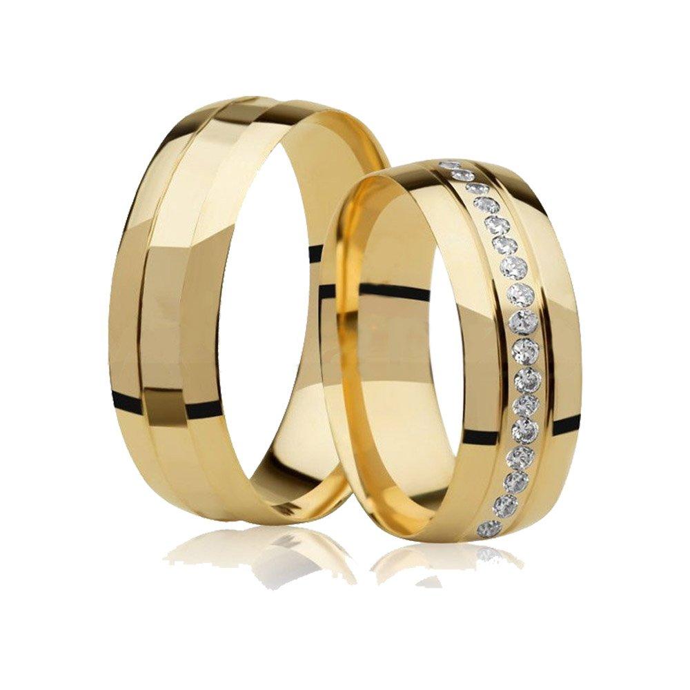 Aliança de Casamento Divine II Ouro 18k  Com Pedras Volta Inteira - Unitária (5mm)