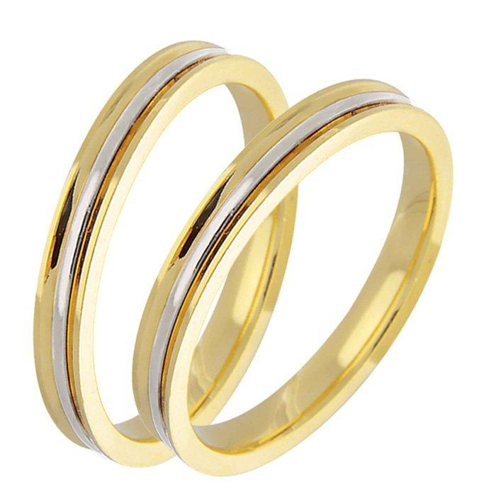 Aliança de Casamento em Ouro Amarelo e Branco Côncava e Filete - Unitária (3mm)